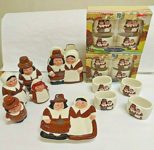 18 Pcs Vintage Publix Pilgrim Thanksgiving - 4 S & P + Napkin + Spoon +12 Rings