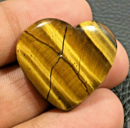 Natural Yellow Tiger Eye Cabochon Loose Gemstone Heart Shape 38.1 Cts UPE-5