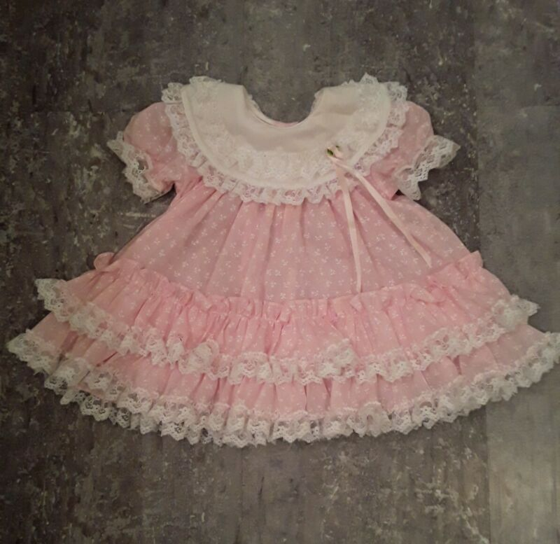 Vintage Baby Girl CUTEST ONE Pink Ruffle Lace Dress 12 Months Made in USA