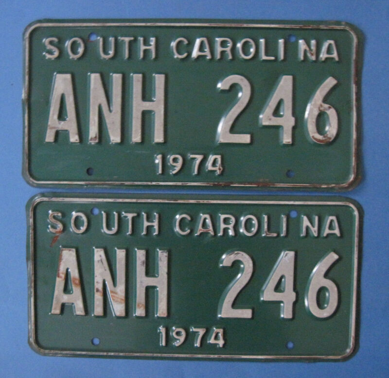 Matched pair 1974 South Carolina license plates