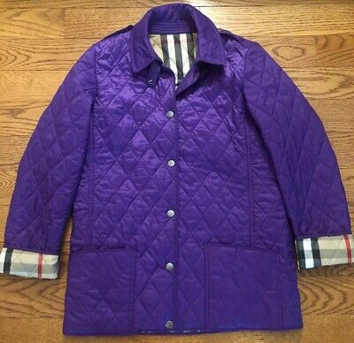 EUC Authentic Classic Burberry Kids Quilted Purple Jacket size 14Y