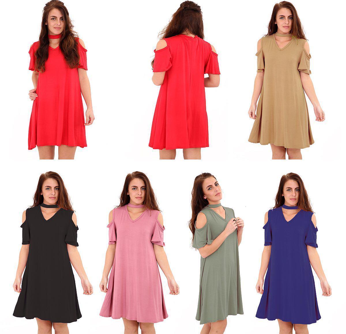 Damen Hemd mit Kurzen Ärmeln Halsband V Ausschnitt Tunika Enganliegend Top Kleid