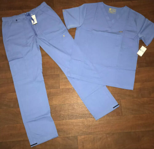 FIGS MENS UNIFORM SCRUBS SIZE MEDIUM SET. (CEIL BLUE) TELA CARGO PANT