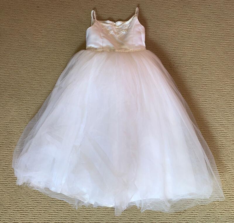 Girls Michaelangelo Flower Girl White Beaded Dress Size 4