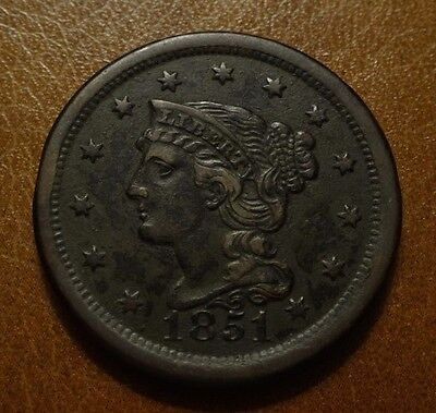 1851 BRAIDED HAIR LARGE CENT, EXTRA FINE