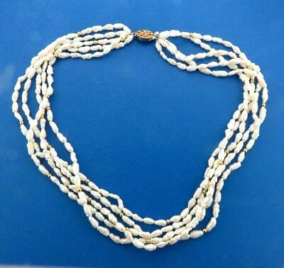 "Fresh Water Biwa Pearl Necklace 5 Strand 18.25"""