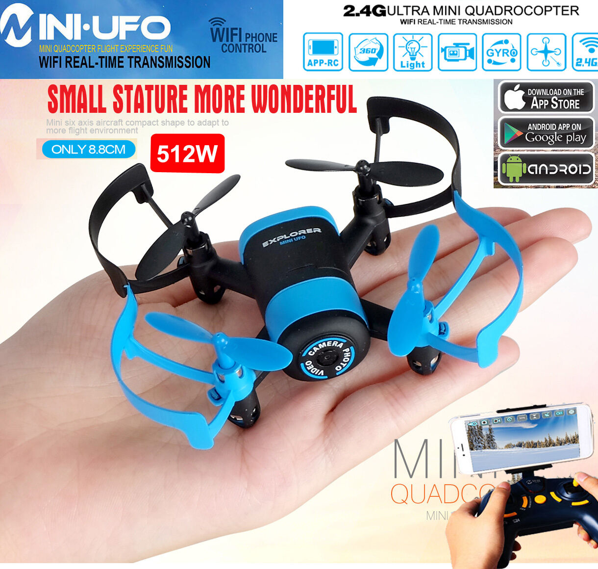 JXD 512W Upgraded WiFi FPV 2.4G 6Axis GYRO MINI UFO RC Quadcopter Drone HD Cam