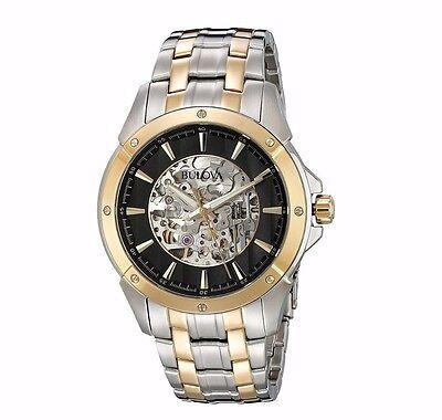 Bulova Men's 98A146 Automatic Black Skeleton Dial Two Tone Dress Watch