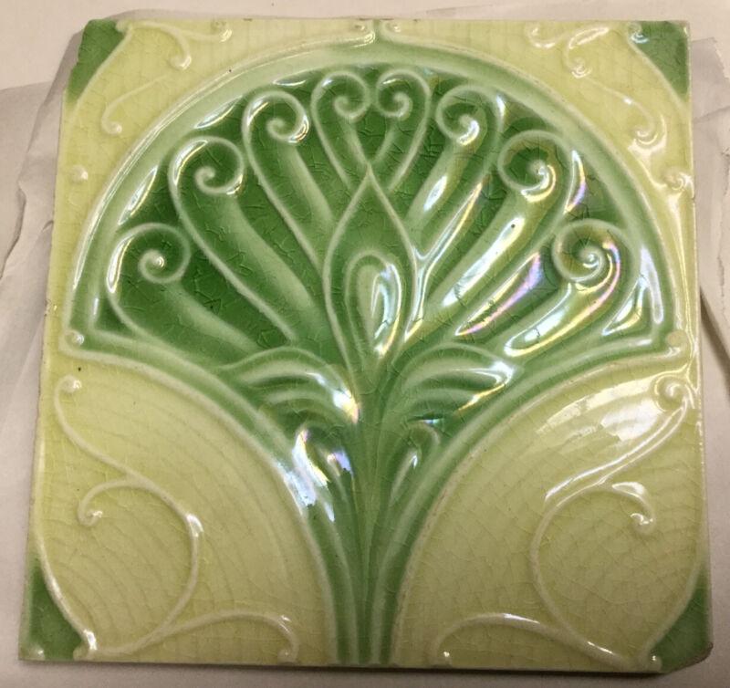 """🟢 Antique England Art Nouveau Floral Green 6"""" Tile Fan"""