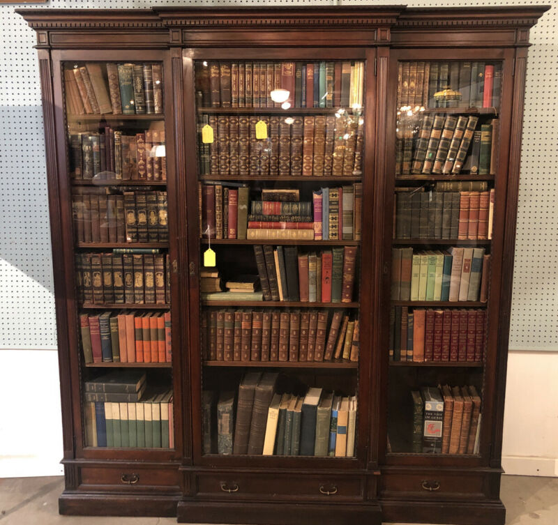 "Large Antique Mahogany 3 Door Bookcase With 3 Draws 82 1/2"" X 78"" X 16"""