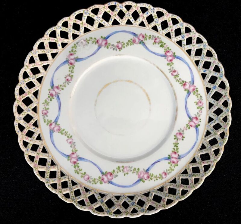 """Antique DH Holmes New Orleans Reticulated Lattice Handpainted Porcelain Plate 8"""""""
