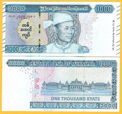 Myanmar 1000 Kyats p-new 2019 UNC Banknote