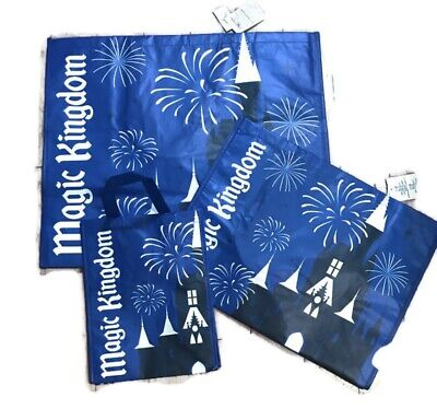 New Disney World Parks Magic Kingdom Reusable Shopping Tote Bag 3 Set S,M, & L