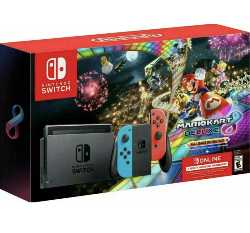 NEW Nintendo Switch Console Mario Kart 8 Deluxe Bundle Neon Blue/Red Joy-Con!!