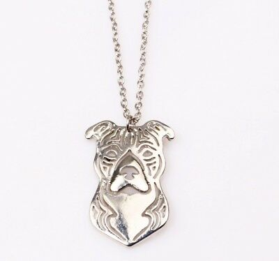 Silhouette Pendant Bully Dog Silver Plated Chain Necklace Gift Rescue Puppy