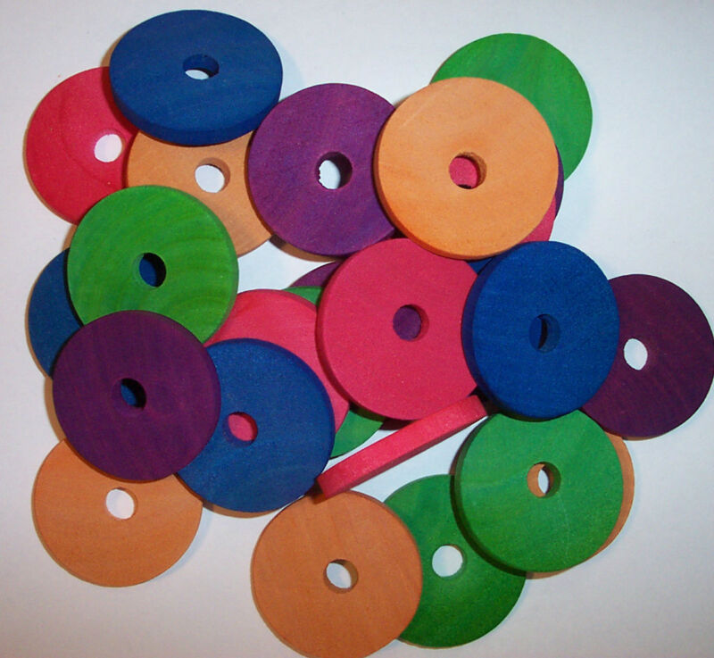 """25 Bird Toy Parts Colored Wood Circle Discs 1-1/2"""" Wooden Parrot Toy w/ Hole"""