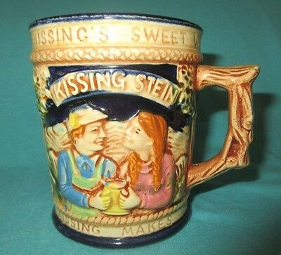Vtg Romantic Ceramic Mug Kissing Stein Lego Japan German Style Double Handled