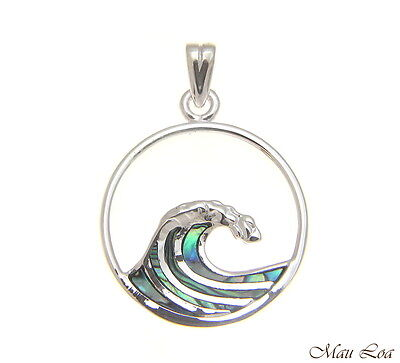 - 925 Sterling Silver Hawaiian Ocean Wave 20mm Circle Abalone Paua Shell Pendant