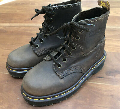 Dr Doc Martens Kids 12 Brown Leather Lace Up Combat Boots Made in England