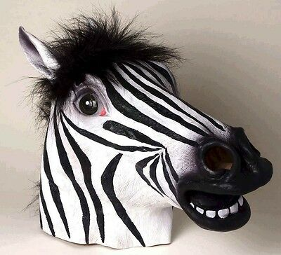 Zebra Animal Mask FULL SIZE Life-Life Realistic LATEX Costume Adult Head NEW