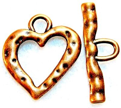 10Sets Tibetan Antique Copper Large HEART Toggle Clasps Connectors Finding C380