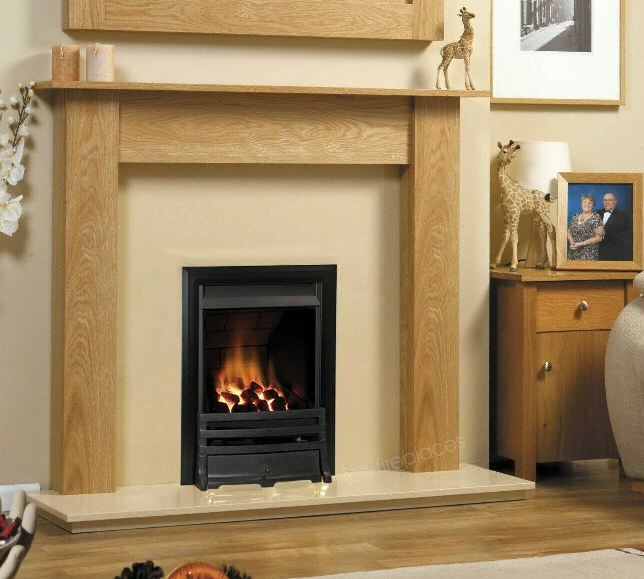 Gas Oak Surround Cream Marble Stone Modern Black Fire Fireplace Suite Lights 48 Ebay