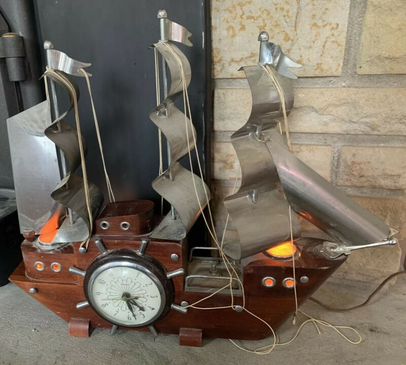 United Metal Goods Vtg  cherry wood mantle ship clock With Lights *works* '60?