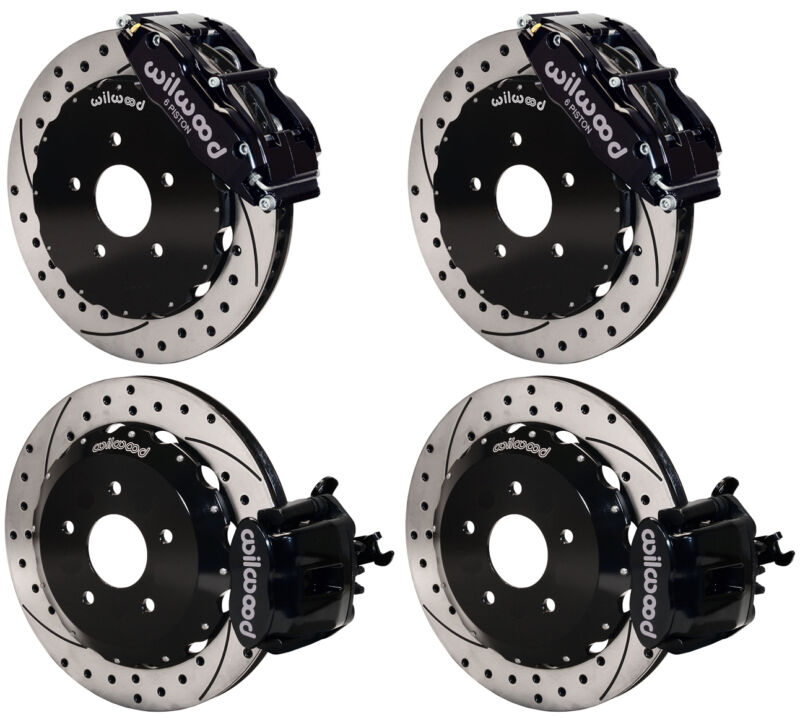 "Wilwood Disc Brake Kit,2000-2009 Honda S2000,13"" Drilled Rotors,black Calipers"