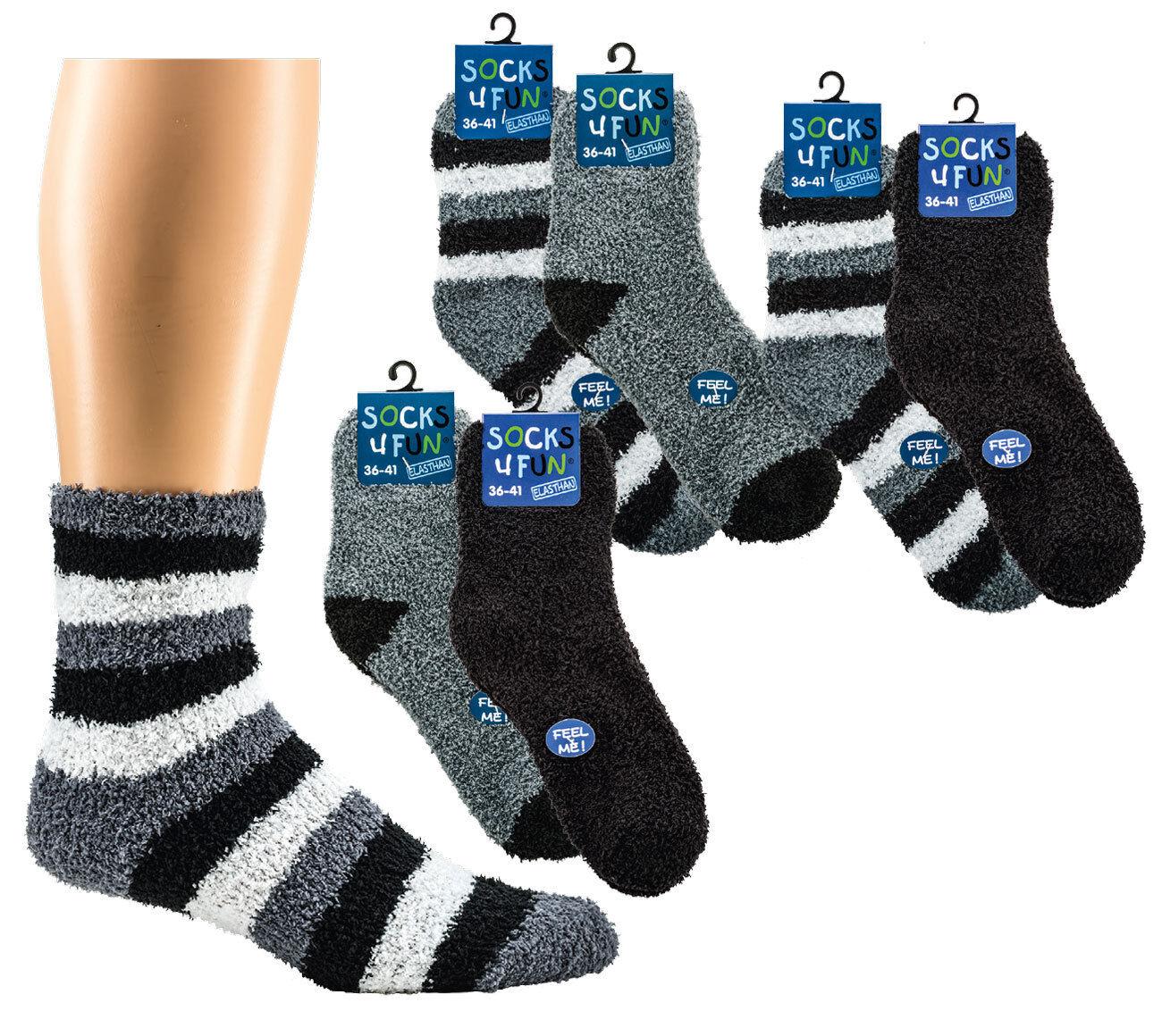 Socks4Fun 2 Paar 4 Paar Damen  Herren Kuschelsocken supersoft   36/41  42/47