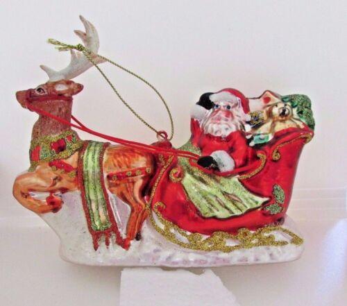Santa Claus Sleigh and Reindeer Blown Glass Christmas Ornament BestPysanky