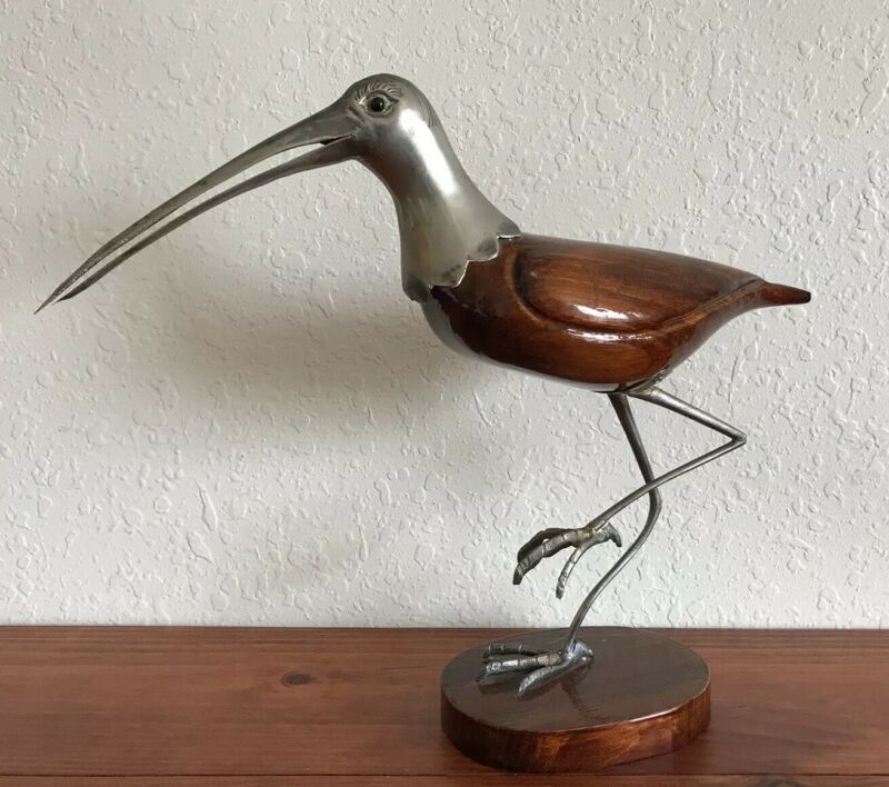 Italy Firenze De Stijl Artist Designed Wood & Metal Bird Statue Sculpture DS