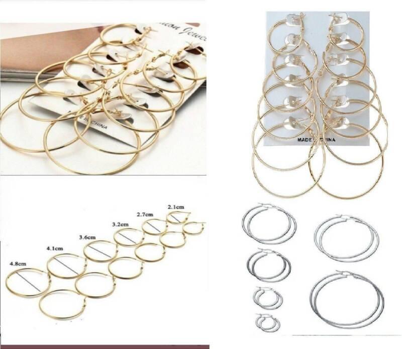 Plain /& simple 7cm silver tone round hoop sleeper style earrings