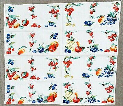 VTG 40s Kitchen Tablecloth  Fruit Grapes Cherries Print White  34x34 100% Cotton