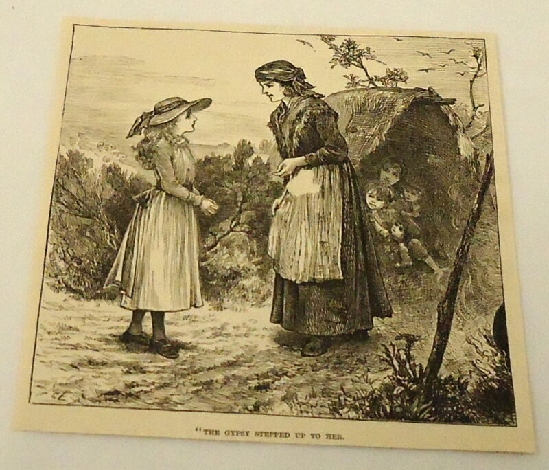1884 magazine engraving ~ THE GYPSY STEPPED UP TO HER - gypsy camp w/ kids