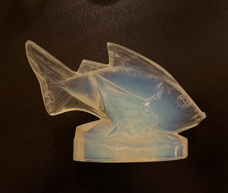 "Sabino Signed Art Glass Opalescent Crystal Fish ""Poisson Barbarin"""