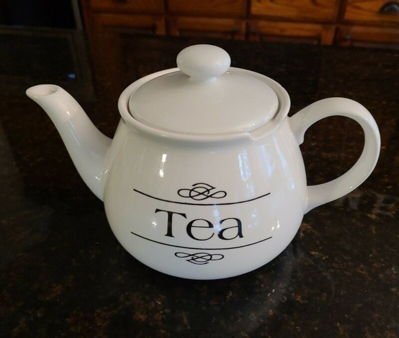 """Vintage Chatsford Teapot """"TEA"""" Printed White Porcelain Holds 4, 8 Oz Cups."""