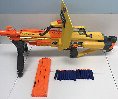 Nerf N-Strike Stampede ECS Clip Shield Battery Operated Gun Yellow Orange TESTED