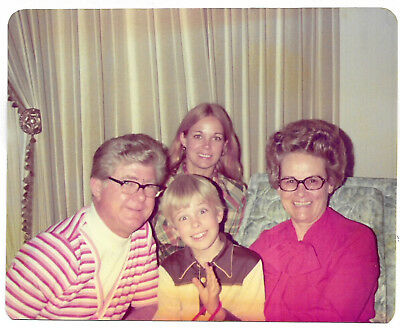 Vintage 70s PHOTO Family Pic w/ Parents, Blond Boy & Older Teen Sister - Teen Boy Pics