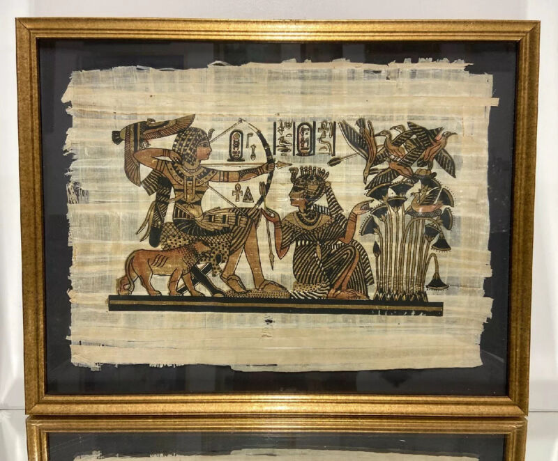 Framed EGYPTIAN Painted On PAPYRUS OF QUEEN AND PHAROAH