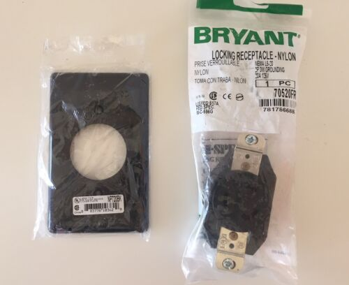 Bryant L5-20 Locking Receptacle Outlet 20A 125V 70520FR w/ Plate