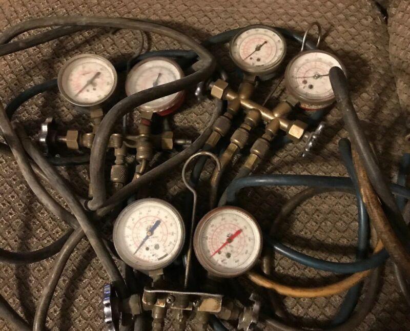 JB Industries A/C Gauge Set  Vintage Lot Made In USA Freon Gauges Lot