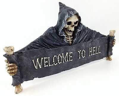 "Welcome To Hell 18"" Grim Reaper Skeleton Plaque Hanging Sign Gothic Skull Decor"