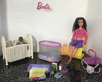Barbie 👶🏾 Nursery Playset With Dolls, Furniture & Accessories ~ Mattel