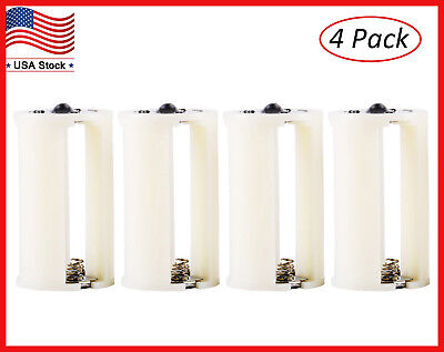 3 AA To 1 D Size Battery Adapters Holder Case Box 1.5V Converter 4pcs Parallel