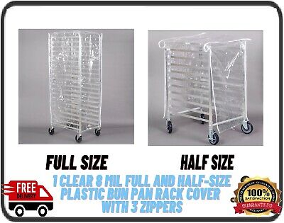 Clear 8 Mil Halffull-size Plastic Bakery Bun Pan Rack Cover With 3 Zippers