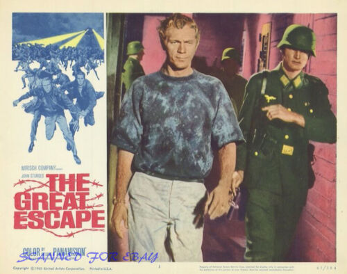 """THE GREAT ESCAPE STEVE MCQUEEN AS HILTS THE """"COOLER KING"""" REPRO LOBBY CARD IMAGE"""