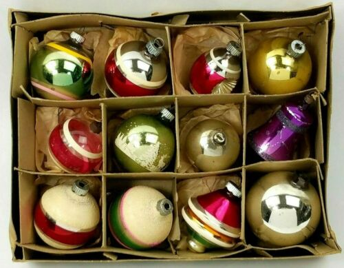 Box 12 Vintage Christmas Ornament Bulbs Shiny Brite Glass Assorted Indent