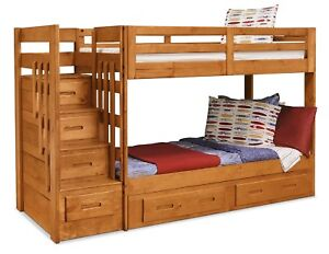 MUST SELL! Solid wood bunk beds with safe stairs and 6 drawers