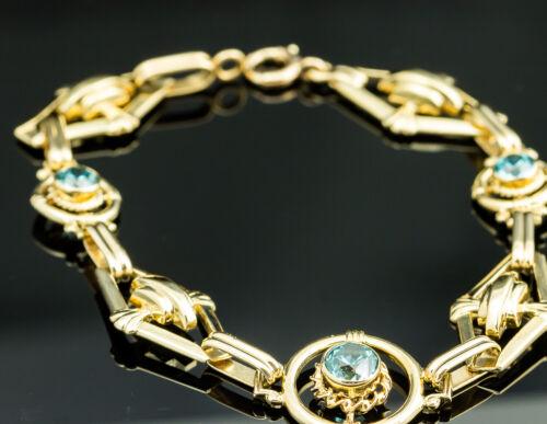 Vintage 14K Yellow Gold Blue Zircon Bracelet