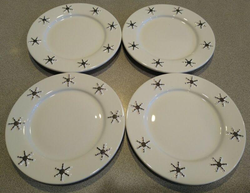 Snowflake Plate Set, Winter White & Chrome Mary Kay inc. Collectibles, set of 4